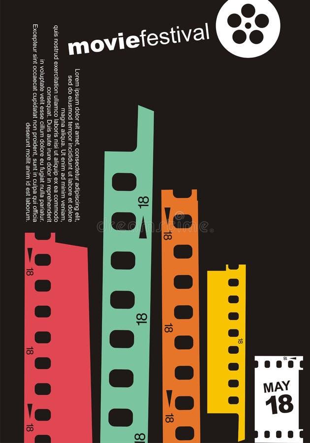 Movie cinema retro poster design layout. stock illustration