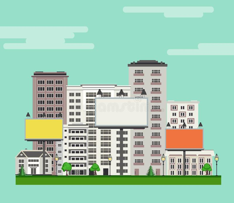 City skyline with multistorey apartment and office buildings, green trees and lawn, billboards. City skyline with multistorey apartment and office buildings vector illustration