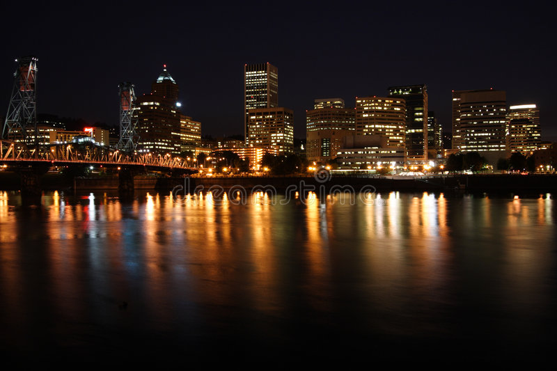 City skyline at night stock images