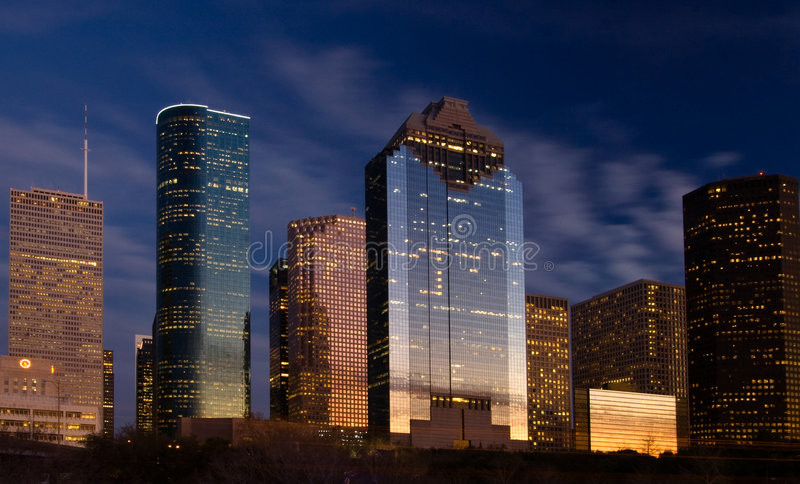 Download City skyline at night fall stock image. Image of international - 4387001