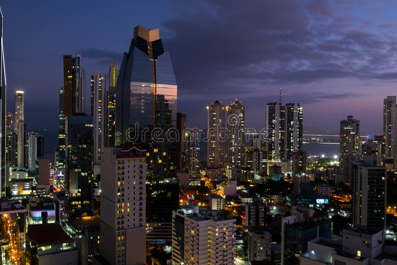 City skyline at night - modern skyscraper building cityscape at stock photo