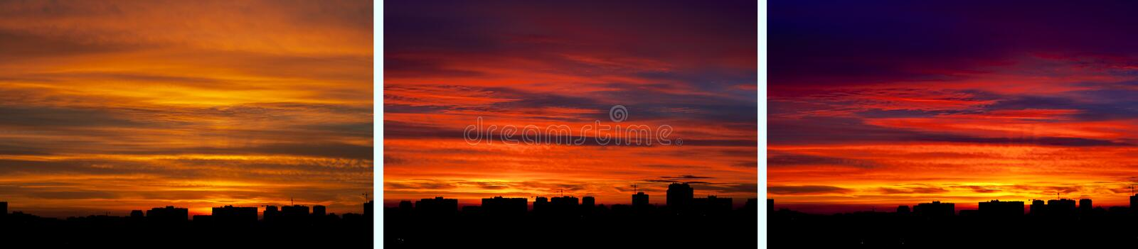 Download City Skyline Over Fiery Sky Stock Image - Image: 21468373