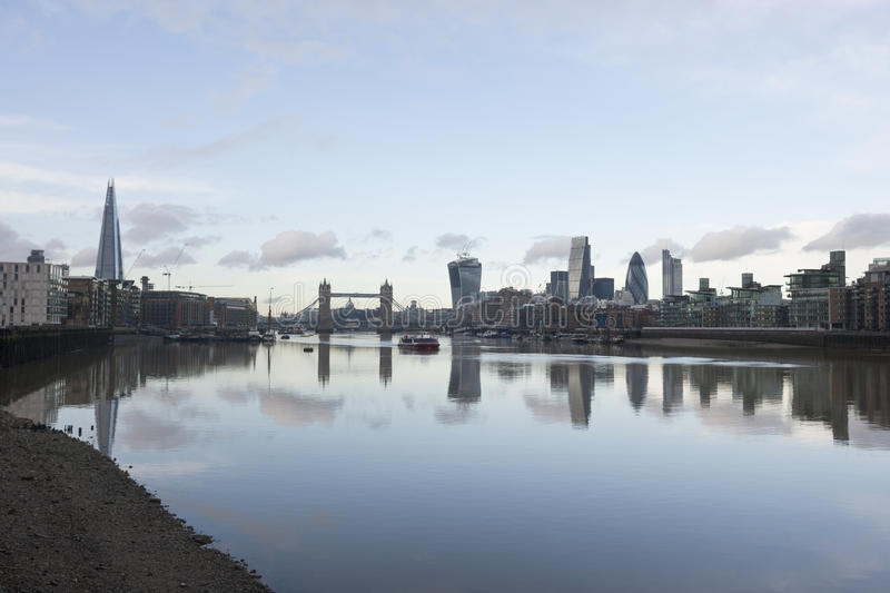 City skyline and River Thames, London, UK royalty free stock image