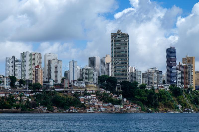 City skyline of Salvador de Bahia. Brazil. The cityscape of Salvador de Bahia, Brazil as seen from the ocean. A big contrast between the rich residential royalty free stock image