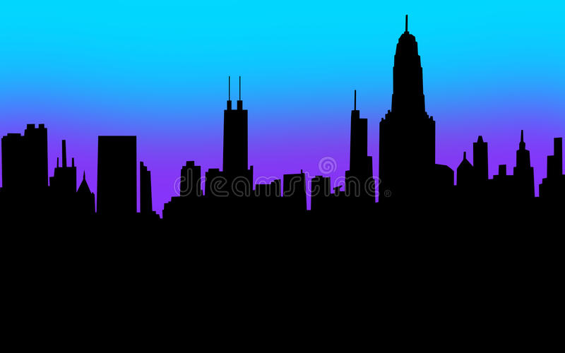Download City Skyline Silhouette Black Blank Copy Space Your Message Stock Illustration - Image: 33298836
