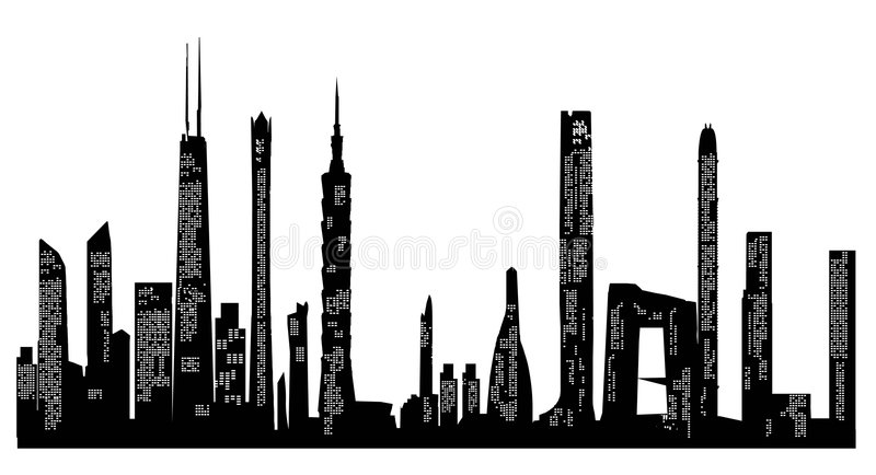 City Skyline and Silhouettes stock illustration