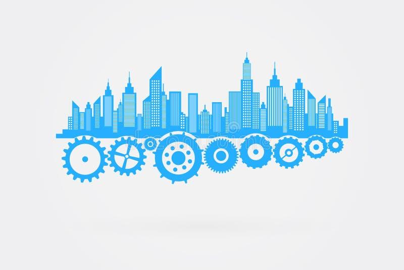 City Skyline Skyscrapers On Cog Wheels royalty free illustration