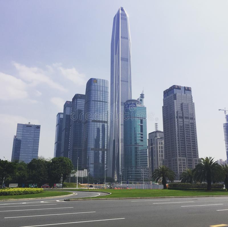 City skyline with skyscrapers, Shenzhen, China royalty free stock image