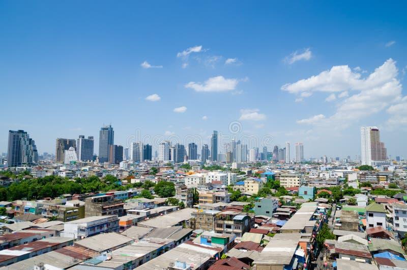 City skyline on sunny day. View over house rooftops of city skyline on sunny day royalty free stock photos