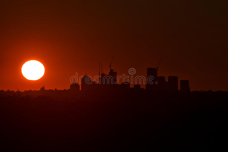 City skyline at Sunset stock photo