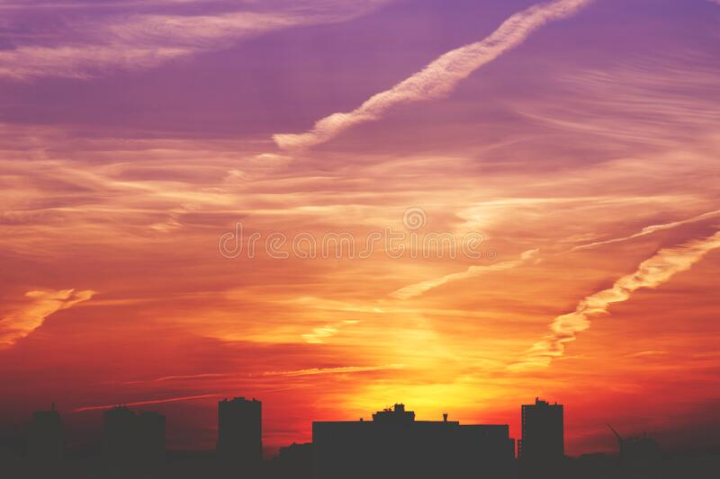 City skyline at sunset royalty free stock images