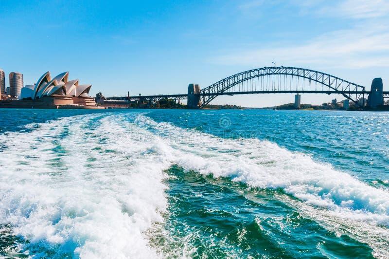 The city skyline of Sydney, Australia. Harbour bridge Circular Quay and Opera House royalty free stock photos