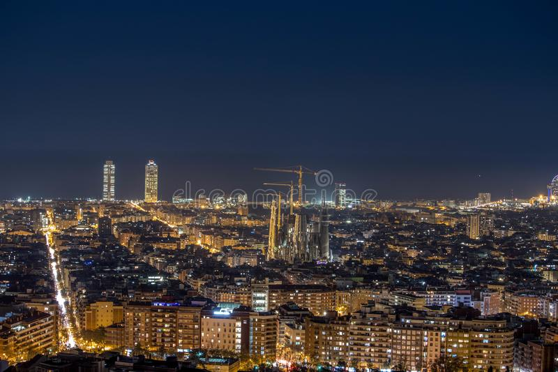 City Skyline from the top of Barcelona stock photography