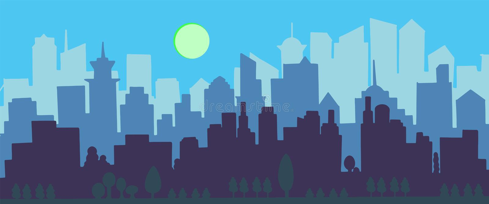 City skyline vector illustration. Urban landscape. Blue city silhouette. Cityscape in flat style. Modern city landscape. vector illustration