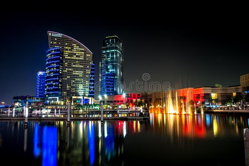 City Skyline Beside Water during Night royalty free stock photos