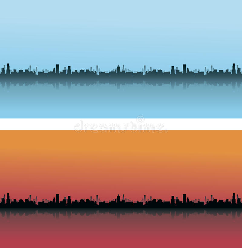 City Skylines in different colours. City Skylines Day and Night View stock illustration