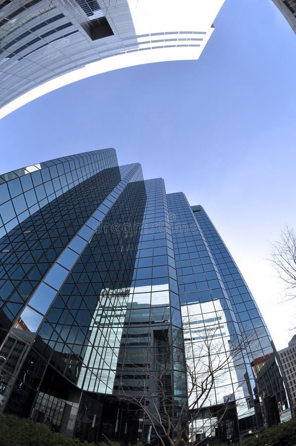 City skyscraper fisheye view stock images