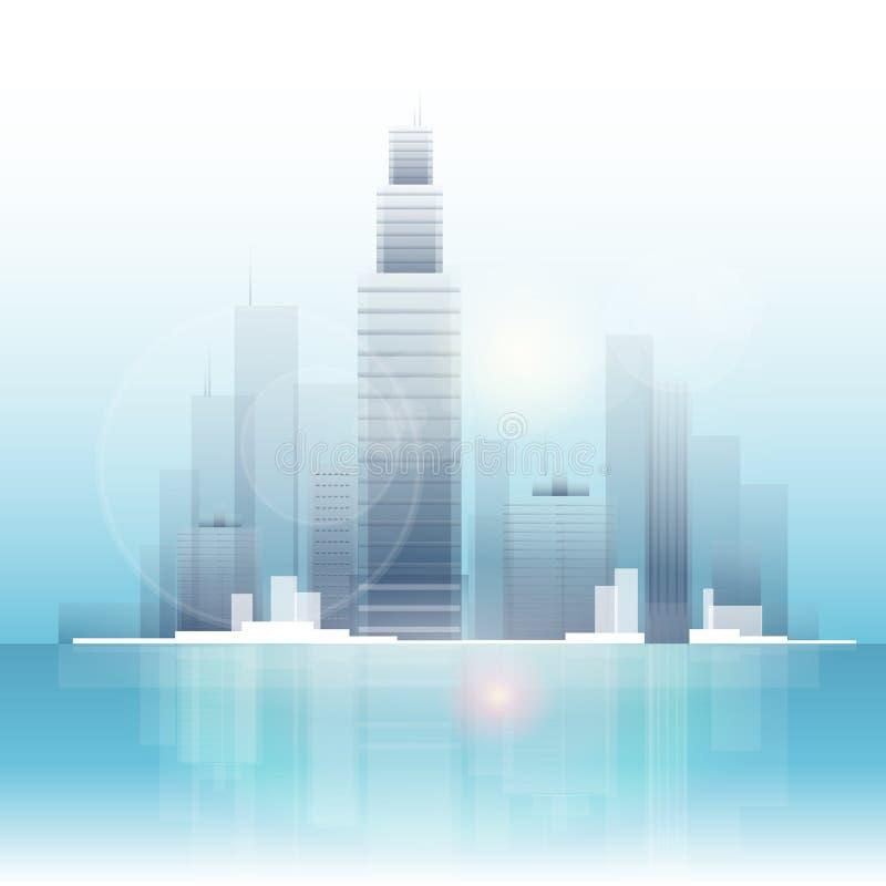 City skyscraper view cityscape background skyline vector illustration