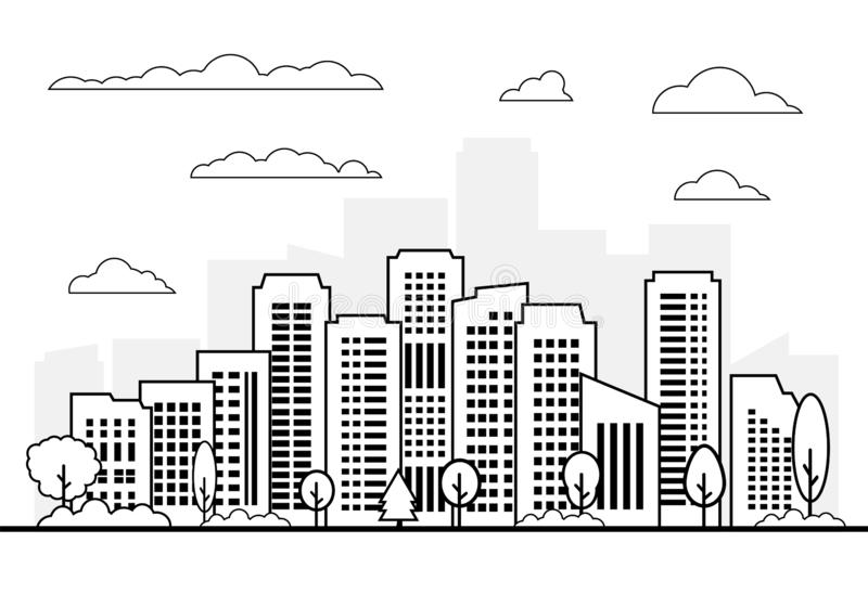City and skyscraper on white background, Modern architecture buildings vector set. Construction cityscape illustration, Black graphic downtown skyline stock illustration