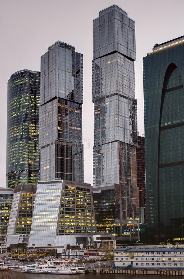 Download City skyscrapers stock image. Image of moscow, evening - 21993951