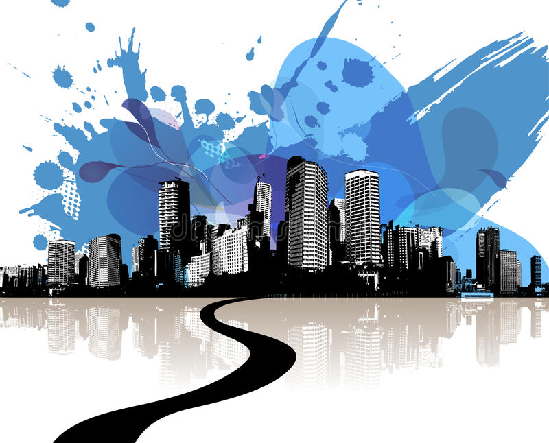 City skyscrapers with abstract blue clouds. Vector art vector illustration