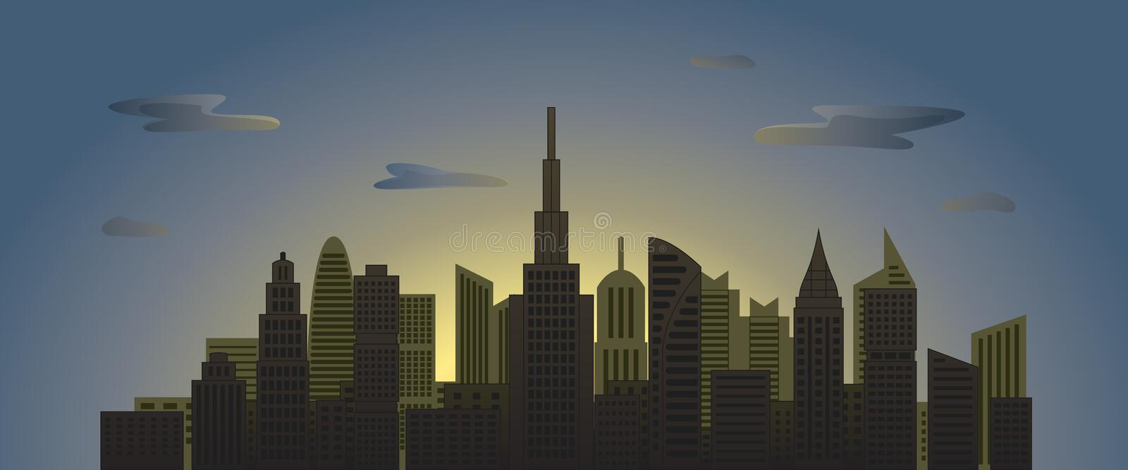 City skyscrapers at dawn with clouds in sky stock photography