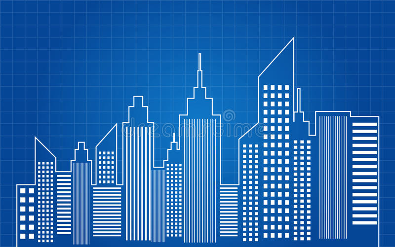 City Skyscrapers Skyline Blueprint. Vector Illustration