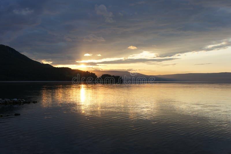 City of Slyudyanka. Baikal. Sunset. stock photo