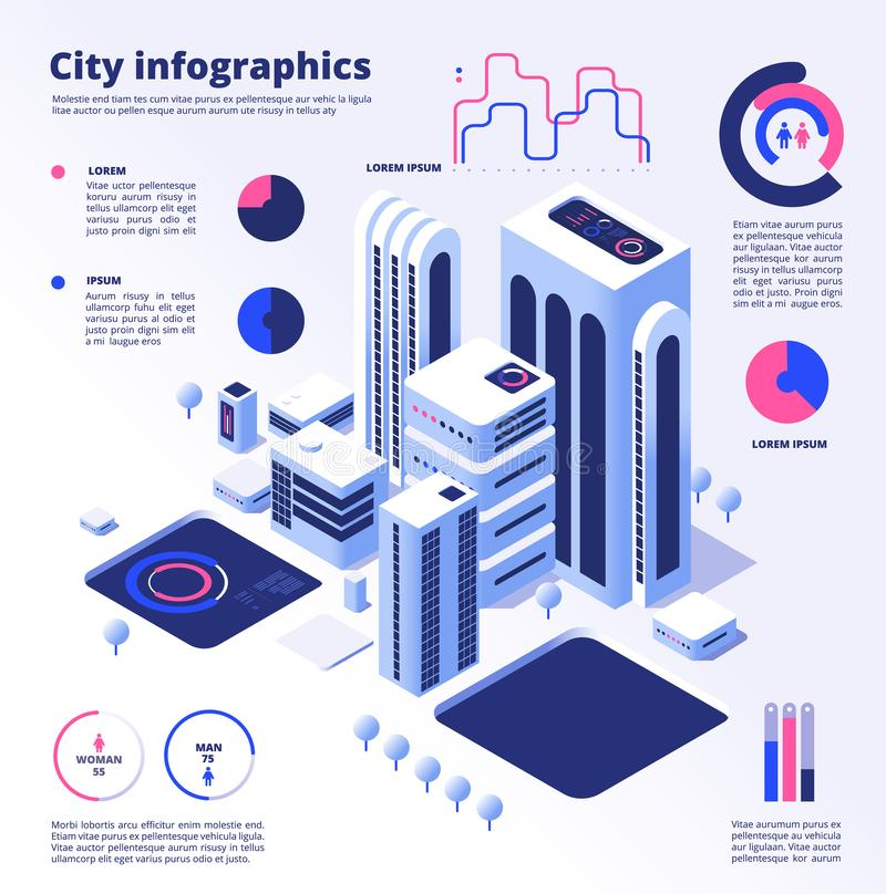 City smart infographic. Urban digital innovation future office futuristic architecture skyscraper smart cities vector stock illustration