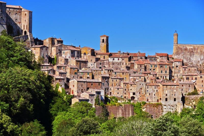 City of Sorano in the province of Grosseto in Tuscany, Italy. City of Sorano in the province of Grosseto in Tuscany, Italy stock photo