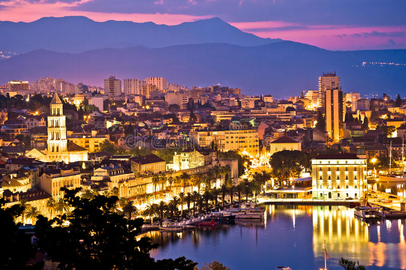 City of Split aerial view at dawn. Waterfront and Diocletian palace, Dalmatia, Croatia stock photo