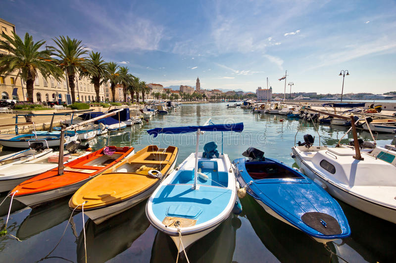 City of Split colorful harbor view. Dalmatia, Croatia royalty free stock photo