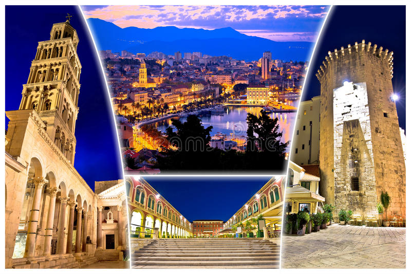 City of Split evening view postcard. Dalmatia, Croatia stock photos