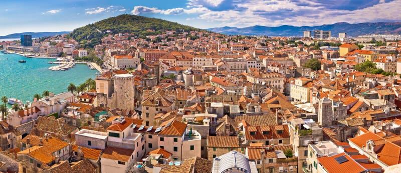 City of Split historic city core aerial view. Dalmatia, Croatia stock photography