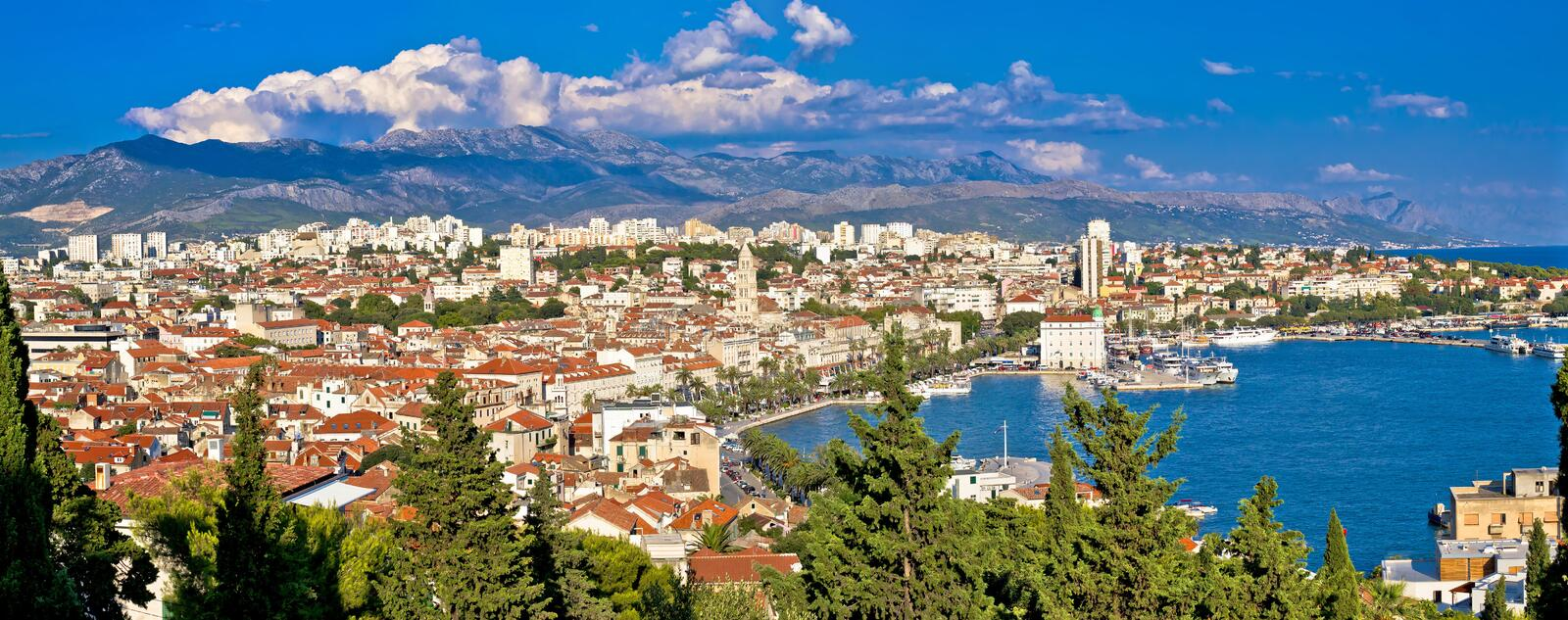 City of Split panoramic view. From Marjan hill, Dalmatia, Croatia royalty free stock photos