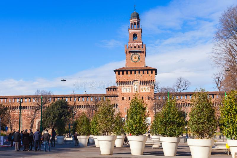 City square near Sforza Castle, Milan stock image
