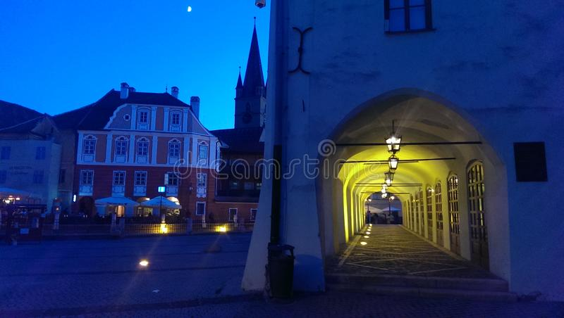 City square at night in Sibiu stock photo