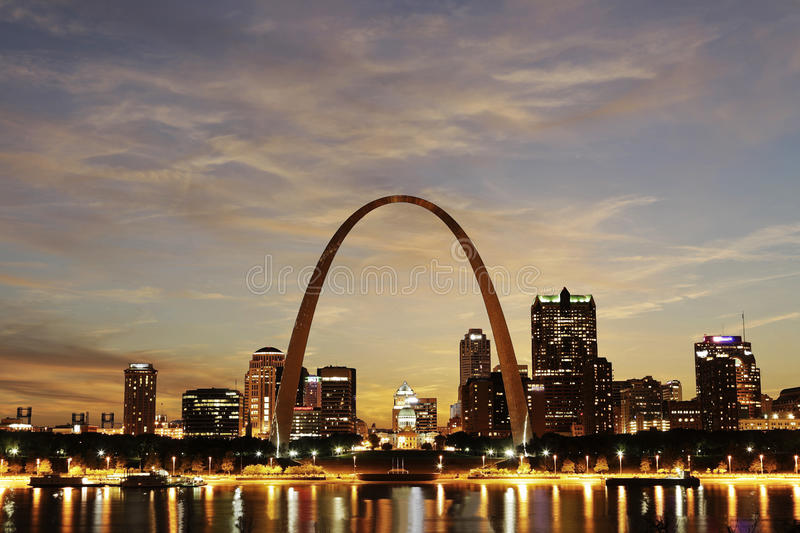 Download City Of St. Louis Skyline, Missouri Stock Image - Image of monument, america: 24816777