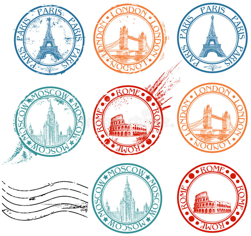 Download City stamps collection stock vector. Illustration of city - 19046471