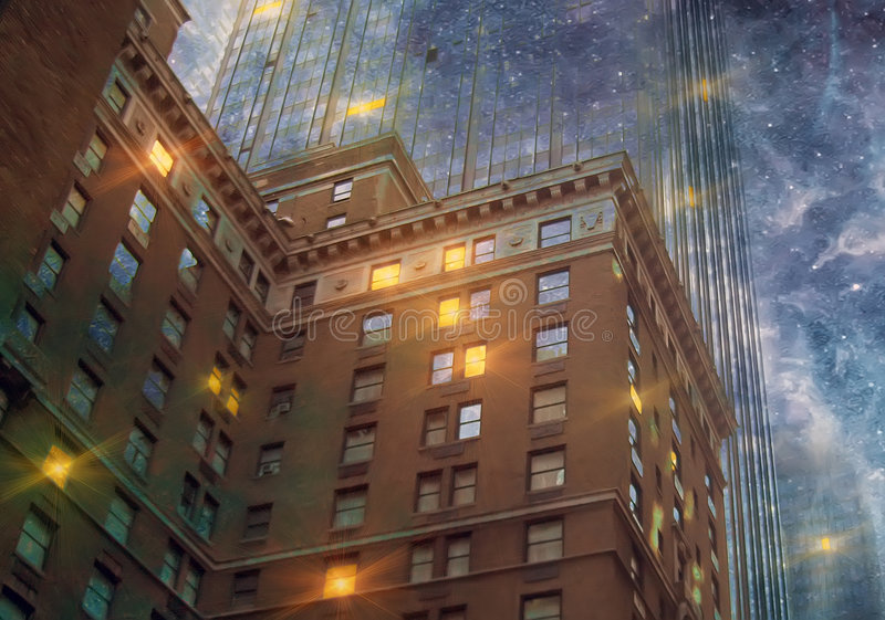 Download City in the stars stock illustration. Image of fantasy - 6633992