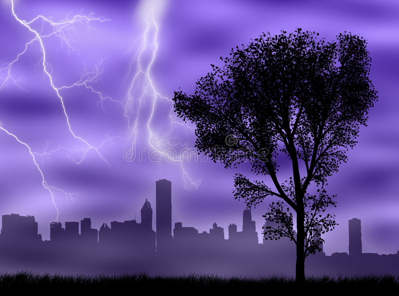 Download City in the storm stock illustration. Image of nature - 8208108