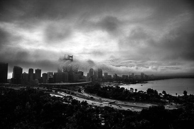 City storm. Early morning city storms stock images