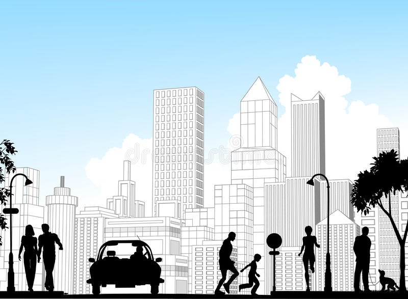 Download City street stock vector. Image of suburban, outline - 10221158