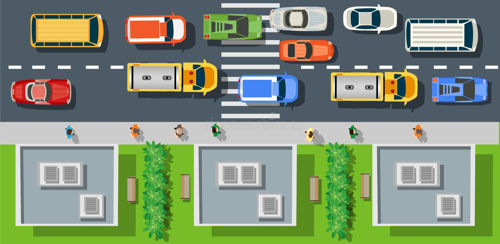 City street with asphalt. Top view from city street with asphalt and transport. People walking down the sidewalk, intersecting the road at a pedestrian crossing vector illustration