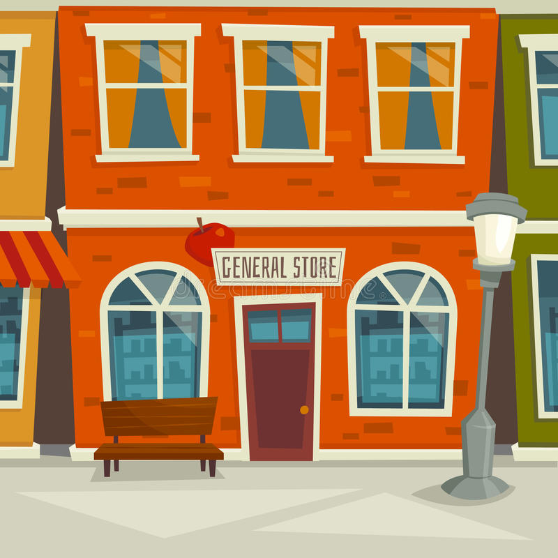 Town Landscape Vector Illustration: City Street Background With Shop Building, Cartoon Vector