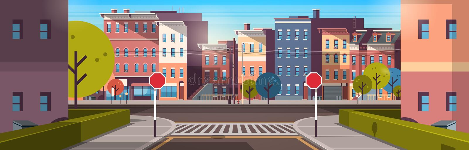 City street building houses architecture empty downtown road urban cityscape early morning sunrise horizontal banner. Flat vector illustration royalty free illustration