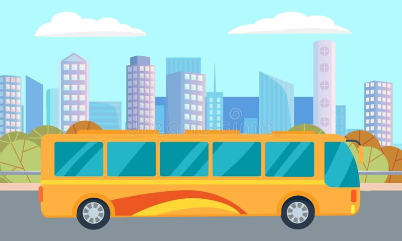 City Street and Bus, Skyscrapers and Downtown vector illustration