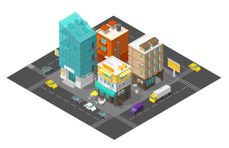 City street cafe and bank. Town district quarter Isometric road 3d. Cars end buildings top view. Vector illustration. Stock clipart vector illustration