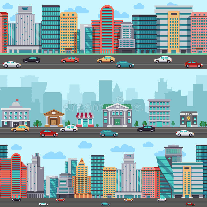 City street with cars and buildings. Vector wrapper panoramic urban design stock illustration