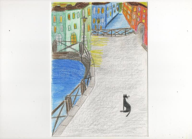 City street with a cat royalty free illustration